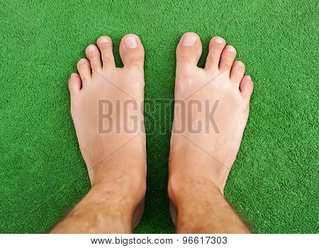 Foot On Green Grass