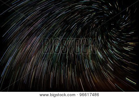 Abstract background with vortex star trails. Fantastic night sky