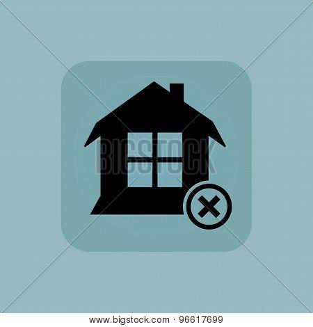 Pale blue remove house icon