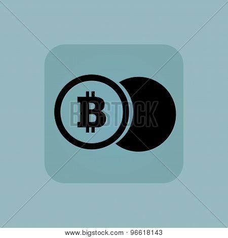 Pale blue bitcoin coin icon