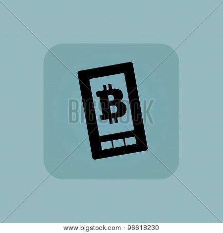 Pale blue bitcoin screen icon