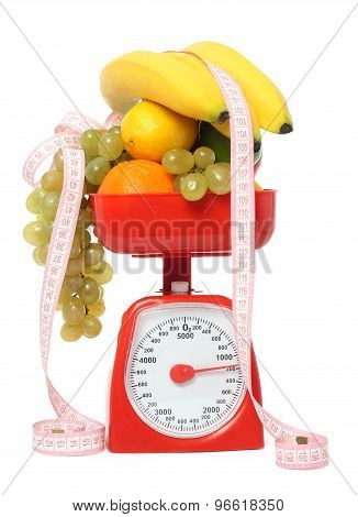 Scale With Fruits Isolated