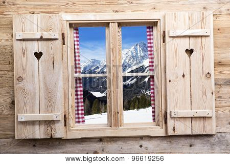 Wooden Window With Snowy Mountain Reflections