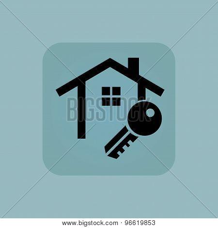 Pale blue house key icon