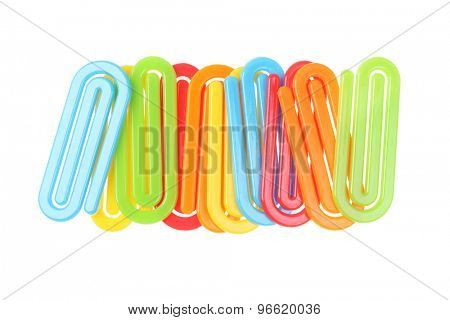 Colourful Plastic Paper Clips on White Background