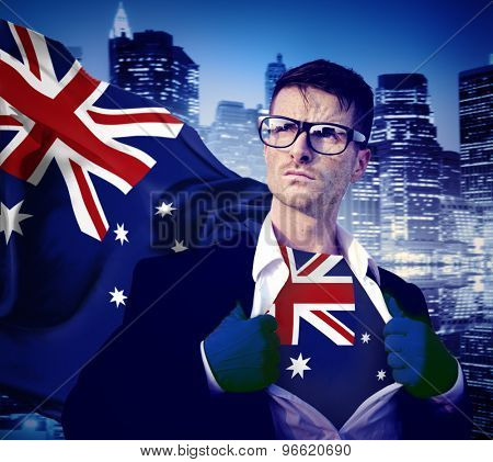 Businessman Superhero Country Australian Flag Culture Power Concept