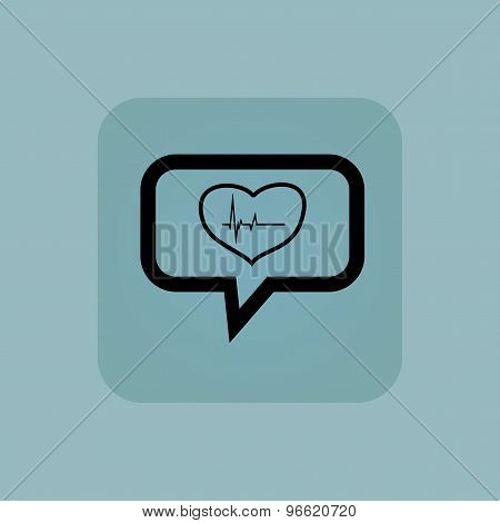 Pale blue cardiology message icon