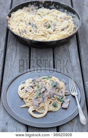 Spaghetti with mushrooms.