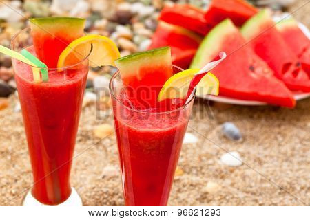 Refreshing watermelon on the beach