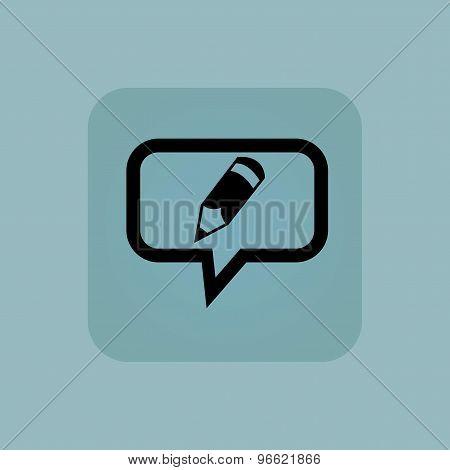 Pale blue pencil message icon