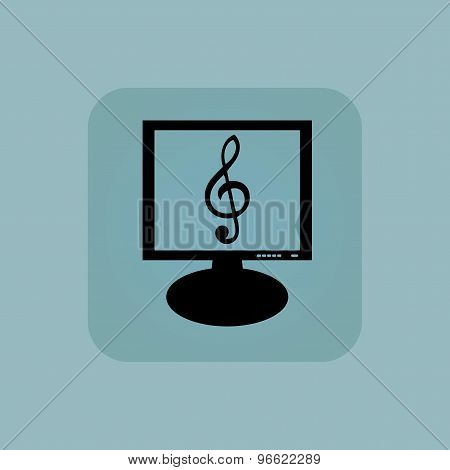 Pale blue music monitor icon