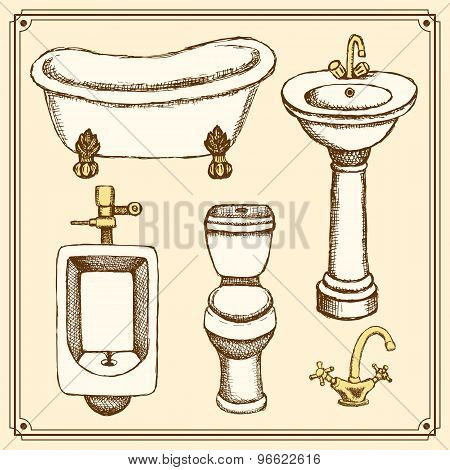 Sketch Bathroom And Toilet Equipment In Vintage Style