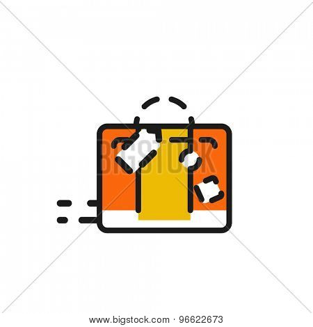 Color line icon for flat design isolated on white. Luggage