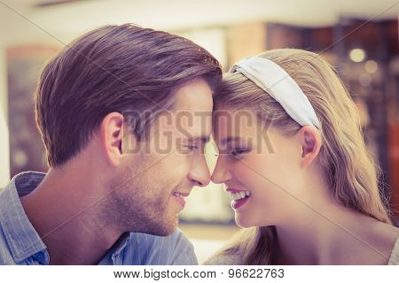 Close up view of a cute couple with joined head