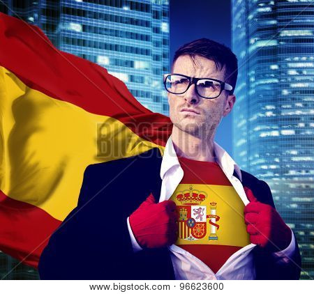 Businessman Superhero Country Spain Flag Culture Power Concept