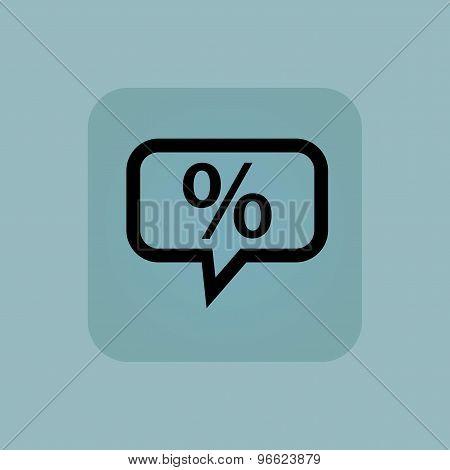 Pale blue percent message icon