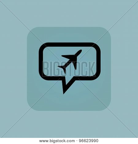 Pale blue plane message icon