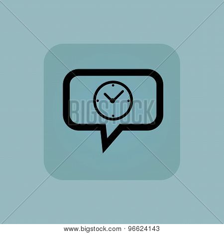 Pale blue clock message icon