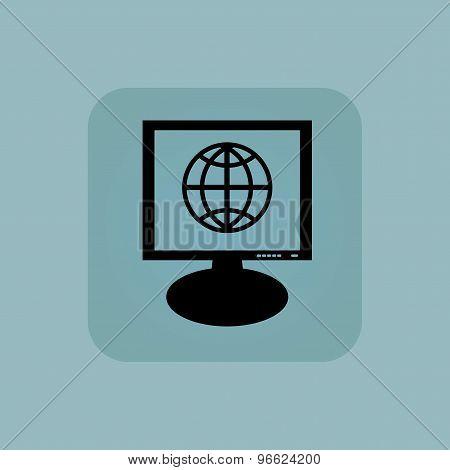 Pale blue globe monitor icon