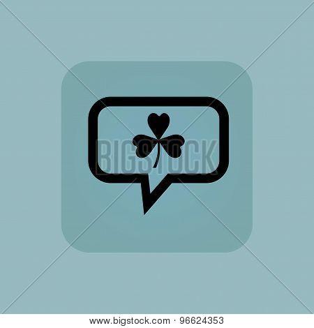 Pale blue clover message icon