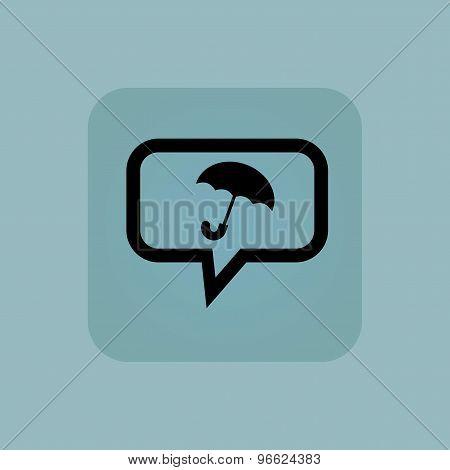 Pale blue umbrella message icon