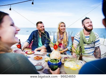 Diverse Summer Beach Party Roof Top Fun Concept