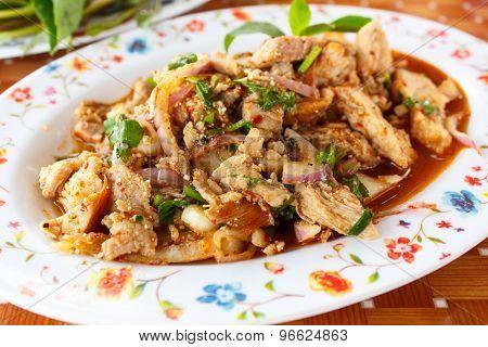 Spicy Pork Salad, Thai Food.