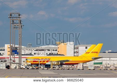 Dhl Cargo Aircrafts At Frankfurt Airport