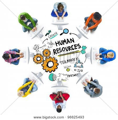 Human Resources Employment Job Teamwork Computer Technology Concept