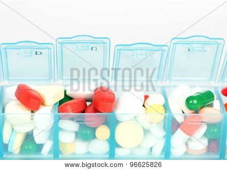 Closed Up Medicine Tablet  In Weekly Pill Box