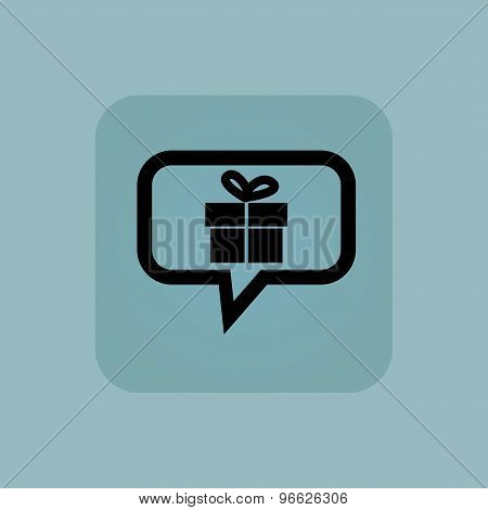Pale blue gift message icon