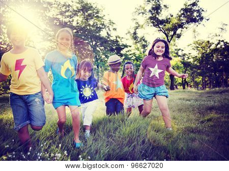 Diversity Children Friendship Happiness Playful Concept