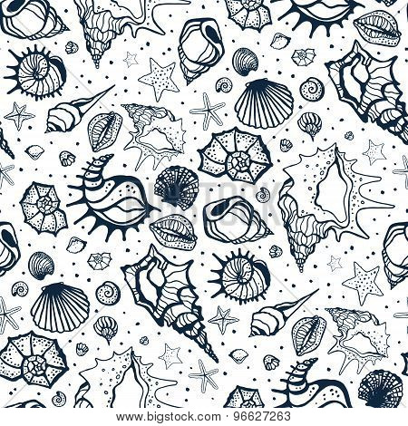 Seamless pattern of Sea shells.