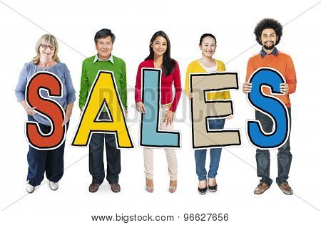 Group of People Standing Holding Sales Letter