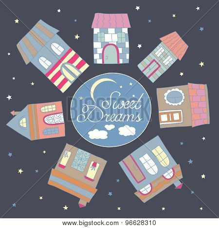 Vector hand drawn vintage child town house in night sweet dreams lettering