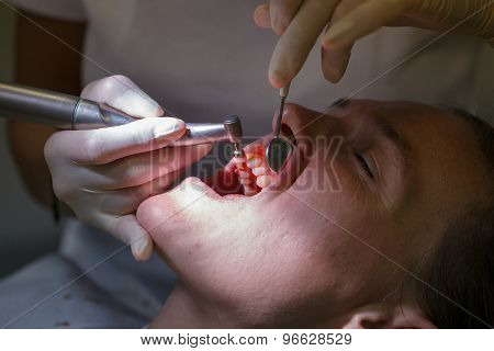 Patient At Dental Hygienists Office