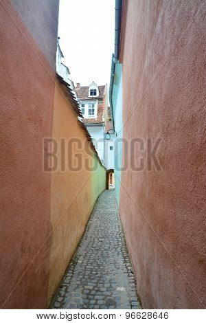 Narrow Street In Brasov, Romania