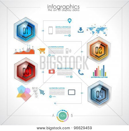 Timeline to display your data in order with Infographic elements technology icons,  graphs,world map and so on. Ideal for statistic data display, solution planning, performance analysis