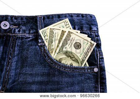 Dollars in jeans