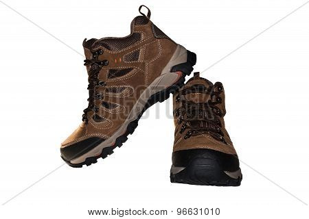 Trekking Shoes Isolated On The White With Clipping Path