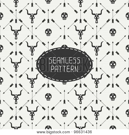 Geometric monochrome hipster line seamless pattern with vintage arrows, skull. Wrapping paper. Scrap