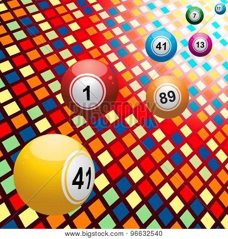 Bingo Balls On Coloured 3D Mosaic Background