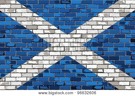 Grunge Flag Of Scotland On A Brick Wall