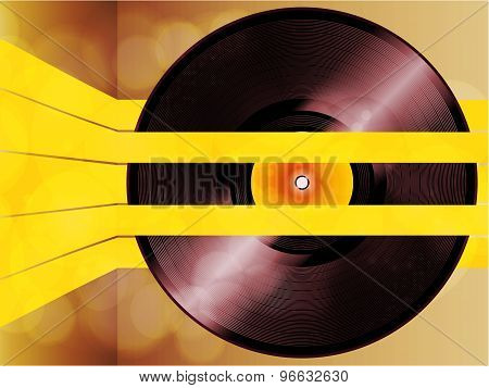 Vinyl Record Glowing On Yellow Stripes