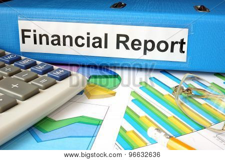 Folder with label Financial Report and charts.