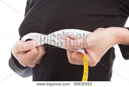 The Woman Checking Her Breast Sizeby Measuring Tape On White Background.