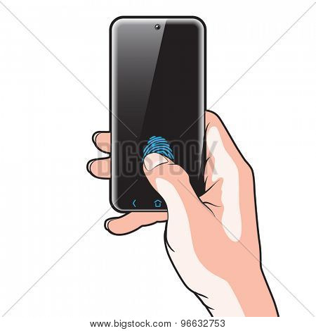 Semitransparent Smartphone with Red Button in Hand