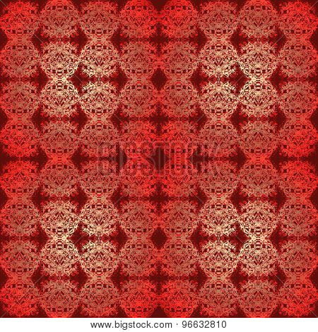 Seamless pattern red golden gleaming