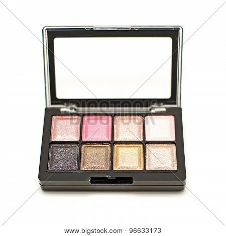 Cosmetic Eyeshadow Palette Makeup Set On White Background