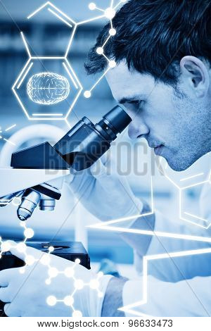 Science graphic against scientific researcher using microscope in the laboratory